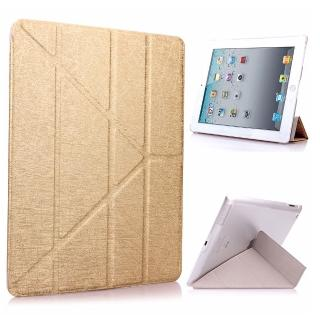 【g-IDEA】Apple iPad 2/3/4 Y折式側翻皮套(金/附保貼)