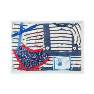 【日本 Nishiki】兩穿長袖連身裝+蝴蝶衣+嬰兒圍兜 套裝4件彌月禮盒組 - 深藍船錨條紋(P0516)