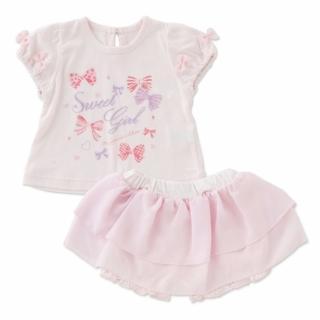 【日本 Nishiki】公主短袖上衣+雪紡紗裙 套裝2件組 - 粉紅蝶結(P3175-P)