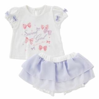 【日本 Nishiki】公主短袖上衣+雪紡紗裙 套裝2件組 - 白紫蝶結(P3175-W)