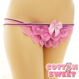 【棉花甜】千層蕾絲蛋糕 丁字褲(粉 B-285)