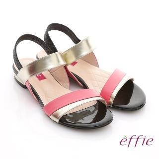 【effie】軟芯系列 全羊皮拼色一字帶平底涼鞋(粉紅)