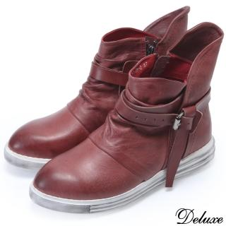 【Deluxe】全真皮復古皮帶英倫質感厚底鬆糕鞋(紅)