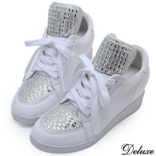 【Deluxe】全真皮水鑽綁帶休閒內增高厚底鞋(白)
