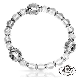 【A1寶石】晶鑽白水晶手鍊-化煞增強正向能量手鍊(含開光加持)