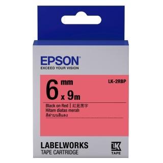 【EPSON】標籤機色帶紅底黑字/6mm(LK-2RBP)
