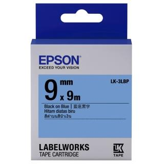 【EPSON】標籤機色帶藍底黑字/9mm(LK-3LBP)