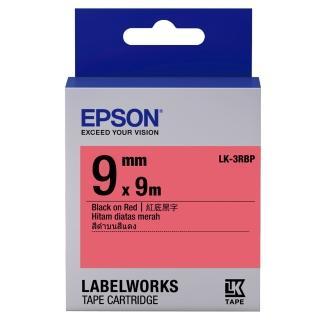 【EPSON】標籤機色帶紅底黑字/9mm(LK-3RBP)