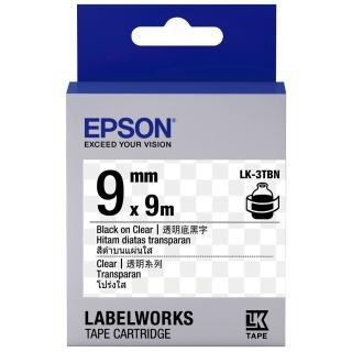 【EPSON】標籤機色帶透明底黑字/9mm(LK-3TBN)
