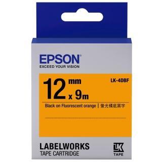 【EPSON】標籤機色帶黃底黑字/9mm(LK-4DBF)