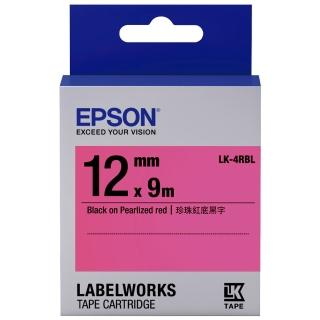【EPSON】標籤機色帶紅底黑字/12mm(LK-4RBL)