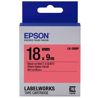 【EPSON】標籤機色帶紅底黑字/18mm(LK-5RBP)