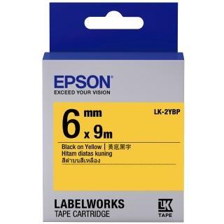 【EPSON】標籤機色帶黃底黑字/6mm(LK-2YBP)