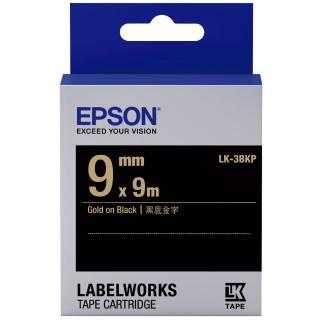 【EPSON】標籤機色帶黑底金字/9mm(LK-3BKP)