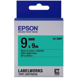 【EPSON】標籤機色帶綠底黑字/9mm(LK-3GBP)