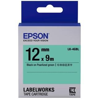 【EPSON】標籤機色帶 綠底黑字/12mm(LK-4GBL)