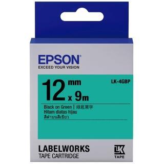 【EPSON】標籤機色帶 綠底黑字/12mm(LK-4GBP)