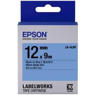 【EPSON】標籤機色帶 藍底黑字/12mm(LK-4LBP)