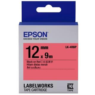 【EPSON】標籤機色帶 紅底黑字/12mm(LK-4RBP)