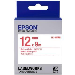 【EPSON】標籤機色帶 白底紅字/12mm(LK-4WRN)