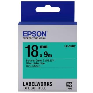 【EPSON】標籤機色帶 綠底黑字/18mm(LK-5GBP)