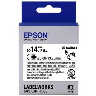 【EPSON】標籤機色帶熱縮套管系列白底黑字/24mm(LK-6WBA14)