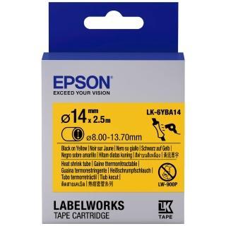 【EPSON】標籤機色帶熱縮套管系列黃底黑字/24mm(LK-6YBA14)