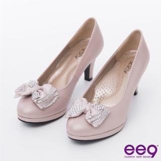 【ee9】心滿益足-時尚魅力奢華閃耀水鑽蝴蝶結高跟鞋*裸色(高跟鞋)