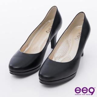 【ee9】心滿益足-通勤私藏全真軟皮MIT素面防水台高跟鞋*黑色(高跟鞋)