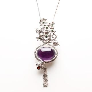 【寶石方塊】松風水月天然紫水晶項鍊-925銀飾