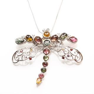 【寶石方塊】翩翩起舞天然碧璽項鍊/胸針二用-925純銀飾
