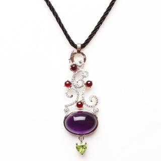 【寶石方塊】美女簪花天然紫水晶項鍊-925銀飾