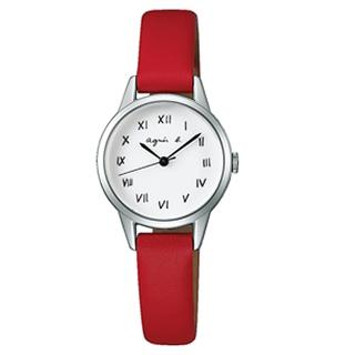 【agnes b.】復古手繪羅馬字體皮革女腕錶-25mm/白紅(VJ21-KT60R/BH8024X1)