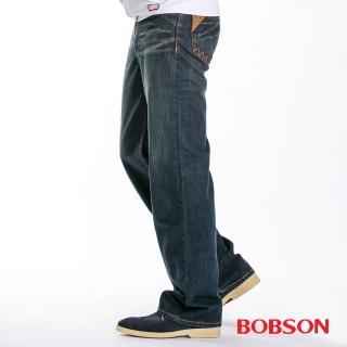 【BOBSON】男款皮革口袋中直筒牛仔褲(1714-52)
