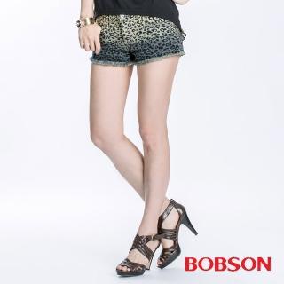 【BOBSON】女款豹紋牛仔短褲(深藍195-53)