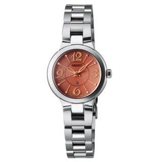 【SEIKO精工】LUKIA優雅花漾鋼帶女腕錶-銀x橘(V111-0AS0O/SSVR021J)