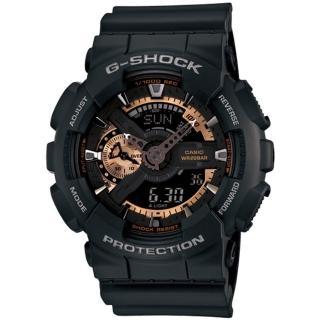 【CASIO 卡西歐】G-SHOCK 潮流黑金雙顯運動錶(GA-110RG-1A)