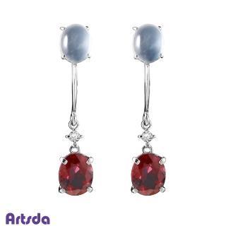【Artsda】天然白翡尖晶石美人鑽石耳環(正紅尖晶石 18K金 夾式)