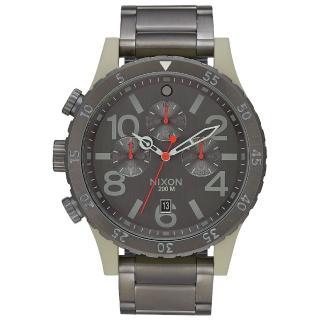【NIXON】48-20 CHRONO 潮流重擊運動腕錶-米灰框x深灰(A4862220)