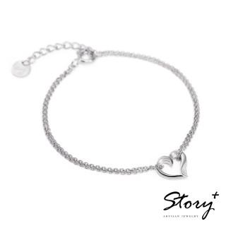 【STORY ACCESSORY】簡單的心-純銀手鍊(白K金)