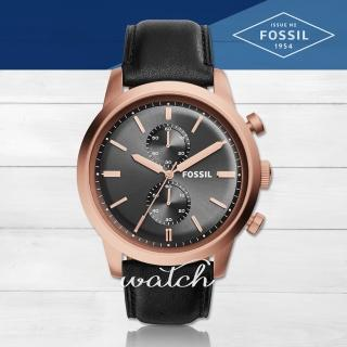 【FOSSIL】品味優雅紳士_雙眼計時皮革_男錶(FS5097)