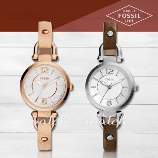 【FOSSIL】都會淑女款_甜美氣質指針真皮女錶(ES3745)