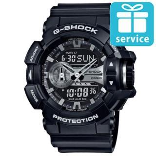 【CASIO】G-SHOCK金屬搖滾個性運動雙顯錶(GA-400GB-1A)