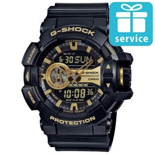 【CASIO】G-SHOCK金屬搖滾個性運動雙顯錶(GA-400GB-1A9)