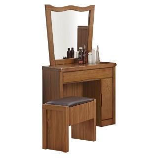 【顛覆設計】克里斯花實木2.5尺化妝鏡台組(含椅)