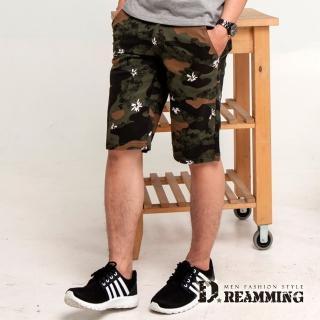 【Dreamming】滿版印花迷彩休閒伸縮短褲(共二色)