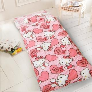 【kitty-愛心-粉】幼教加大兒童睡袋(冬夏鋪棉兩用)