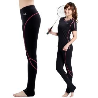 【遊遍天下】MIT台灣製3D彈力塑身吸排機能壓力褲P111黑色(M-L)