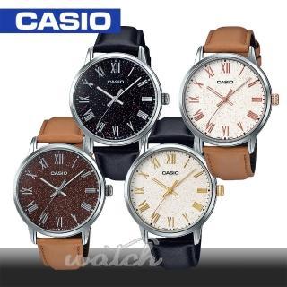 【CASIO 卡西歐】甜美氣質錶款_簡約羅馬文_皮革男錶(MTP-TW100L)
