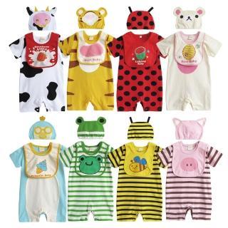 【baby童衣】短袖連身衣附圍兜 動物造型套裝31271(共8色)